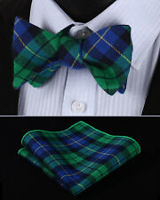 BMC402G Green Blue Check Men Cotton Self Bow Tie Pocket Square set