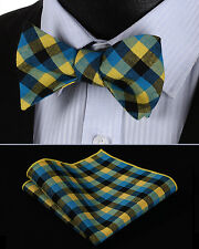 BMC202Y Yellow Blue Check Men Cotton Self Bow Tie Pocket Square set
