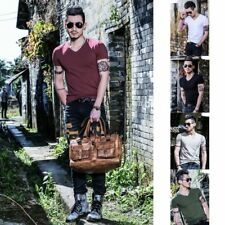 New Mens Basic Solid O/V-Neck Slim Fit Tops Casual Short Sleeve Summer T-shirts