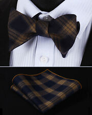 BMC301Z Brown Navy Blue Check Men Cotton Self Bow Tie Pocket Square set