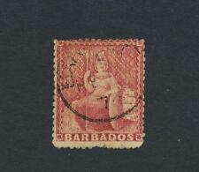 BARBADOS 1873, 4d DEEP ROSE RED,WMK LGE STAR VF USED SG#59 CAT$315+/-(SEE BELOW)