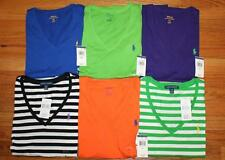 NWT Polo Ralph Lauren Womens PONY LOGO V-Neck Stripe T-Shirt Choice 6 Colors *E6