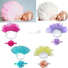 Newborn Infant Baby Girls Tutu Skirt&Flower Heanband Photo Props Costume Outfits