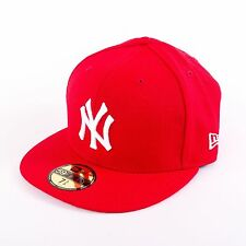 New Era MLB 59 Fifty Basic New York Yankees Fitted Cap Hat, red/white, 90916