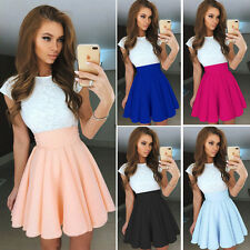 Women Lace Short Sleeve Skater Pleated Skirt Evening Cocktail Party Mini Dresses