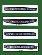 Show Brow-Band For English Bridle Padded Or Non Brown Or Black Blue Crystal PONY
