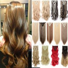 Full Head Set 8 PCS 18Clips Clip In On Hair Extensions Deluxe Thick Ombre 2Tones