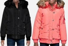 NWT JUSTICE BLACK OR CORAL HOODED BOMBER JACKET WINTER COAT GIRLS SZ  20