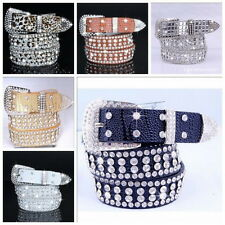 Stylish Leather Bling Rhinestone Crystal Western Cowgirl Belt Waistband Womens