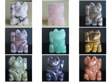 39mm Carved mixed gemstone turquoise rose quartz fortune lucky cat figurine