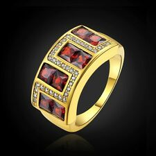 Men's Delicate Size 8,9,10,11 Red Garnet 18K Gold Filled Bridal Anniversary Ring