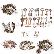 Lots Punk Steampunk Mixed Skull Wing Key Pendant Charms Necklace Jewelry Making