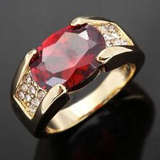 Jewelry Size 8,9,10,11 Red Garnet 18K Gold Filled Men's Banquet Engagement Rings