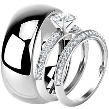 His Hers Solid 925 Sterling Silver CZ Engagement Wedding Ring Set Tungsten Band