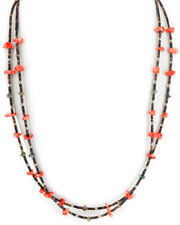 $480Tag 2 Strand Silver Navajo Natural Turquoise Coral Native American Necklace