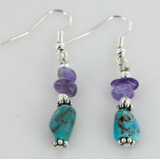 $60Tag Silver Navajo Hooks Natural Turquoise Amethyst Native American Earrings