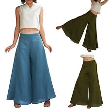 TOP Womens Culottes Casual High Waist Flare Wide Leg Palazzo Long Trousers Pants