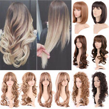 Ladies Women Full Wig Daily Curly Wavy Synthetic Hair Highlight Pop Natural Wigs