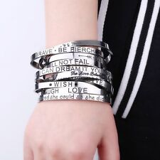 Engraved Stainless Steel Letter Wish Love Cuff Bracelet Bangle Family Jewelry