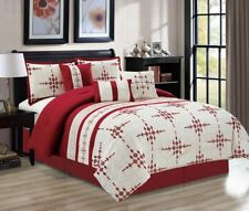 11 Piece Embroidered Diamond Print Burgundy/Beige Bed in a Bag Set