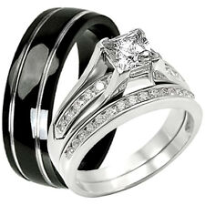 His Hers 925 Sterling Silver Engagement CZ Wedding Ring Set Black Titanium Band