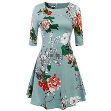 Women's Half Sleeve Floral Print Fit and Flare Party Cocktail Swing Tea LEBB01