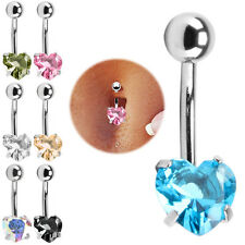 Rhinestone Crystal Heart Barbells Navel Belly Bar Button Ring Body Piercing UK