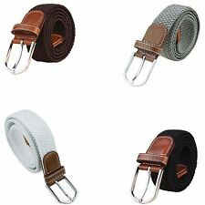 "7001 Men's New Leather Covered Buckle Woven Elastic Stretch Belt 1-1/4""  Unisex"