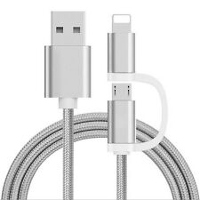 2 in 1 Charger Cable Lightning Micro Data USB Sync For iPhone Samsung Universal