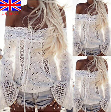 Summer Beach Women Lady White Lace Word Shoulder Casual Tops Long Sleeve Blouse