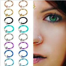 2PCs Women Fake Nose Lips Ring Spring Clip Hoop Earring Piercing Septum Jewelry