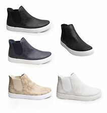 Womens High Tops Plimsolls Shoes Trainers Boots Skater Gym Suede Flat Sneakers