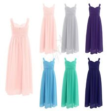 Girls Chiffon Pleated Dress Princess Pageant Wedding Bridesmaid Birthday Party