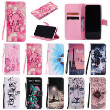 Painted Leather Wallet Phone Case Stand Cover for Huawei P8 P9 P10 Lite Plus