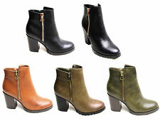 Womens Ladies Block High Heels Gold Zip Up Ankle Boots Shoes Faux Leather Casual