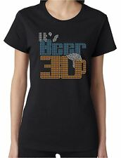 It's Beer 30 Funny Rhinestone Women's Short Sleeve Shirts Drinking Bar Partying