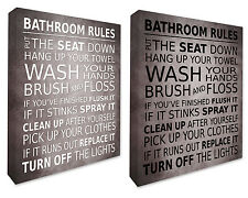 Bathroom Rules Wall Hanging Picture Bathroom Wall Canvas Print Medium Grey A1/A2
