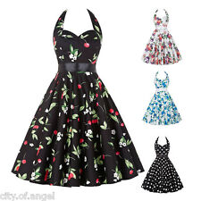 Womens Dress Floral Polka Retro Vintage 50s Casual Party Rockabilly Swing Dress