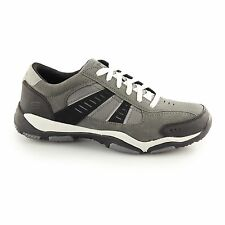 Skechers LARSON TOTES Mens Suede Sports Trainers Sneakers Charcoal/Black Grey