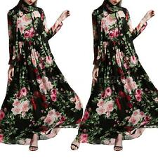 Women Ladies Floral Printed Long Sleeve Boho Evening Party Long Scarf Dress S6D6