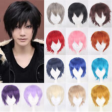 Unisex Pixie Cut Full Wigs Anime Cosplay Costume Short Hair Synthetic Wig 30cm