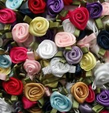 Mini Small Satin Ribbon Roses with Satin Leaves Choose Colour/Pack Size Free P&P