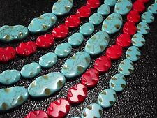 "15x20mm,20x35mm Oval wave Howlite Turquoise Gems Spacer Beads 16"" /12pcs"