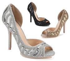 WOMENS STILETTO HEEL LADIES SUMMER DIAMANTE WEDDING PEEPTOE SANDALS SHOES SIZE