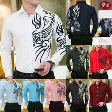 Mens Dragon Casual Shirts Slim Fit Long Sleeve Printing Casual Tops Dress Shirts