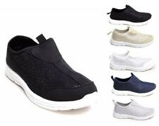 Womens Casual Diamante Slip On Gym Sneakers Flats Pumps Sports Trainers Shoes