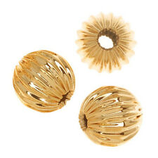 Gold Plated Corrugated Round Metal Beads 6mm (20)