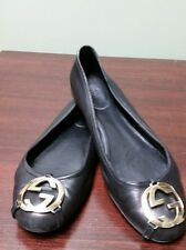 GUCCI  Ballerina Flats Shoes BLACK LEATHER SILVER INTERLOCKING GG SZ 36.5 US 6.5