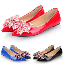 kala Summer womens ballerinas dolly Shoes Floral Bow  Ballet Flats Size 2-15