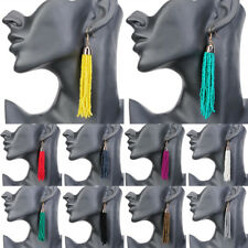 Fashion Bohemian Women Resin Seed Beads Tassels Fringe Boho Hook Dangle Earrings